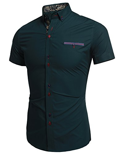 Coofandy Men's Slim Fit Turn Down Collar Short Sleeve Casual Shirt