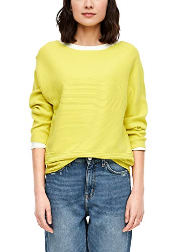 s.Oliver Damen Pullover mit Rippstruktur Light Yellow 40
