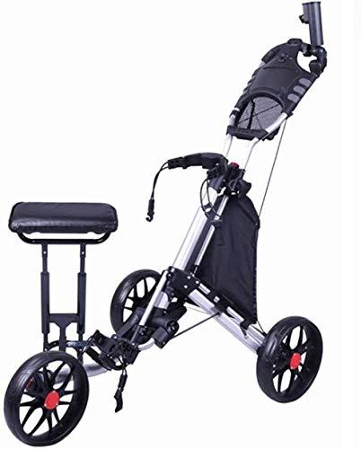 HY-WWK Golf Push Pull Cart Golf 3-Rad Golf Push Cart Mit Kesselständer Anzeigetafel Golf Cart Leichter Wagen Einfach Zu Tragen Und Zu Klappen Mit Sitzschirm Stand Cup Cup Holder