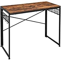 Vasagle 39 Inch Folding Computer Desk (Rustic Brown and Black)