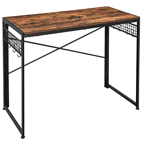 VASAGLE Computer Desk, Folding Writing Desk with 8 Hooks, Study Desktop Workstation, Brown ULWD42X