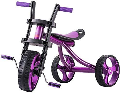XXCZB Bicicletas Niños Triciclo Bicicleta Niños Propio Cochecito Niño Niña Pedal Bicicleta estática 3~10 años Bicicleta (Color: Verde Tamaño: 70X46X53CM)-Los 70X46X53CM_Púrpura
