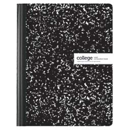 Office Depot Brand Composition Book, Marble, 7 1/2in x 9 3/4in, College Ruled, 100 Sheets, Black/White