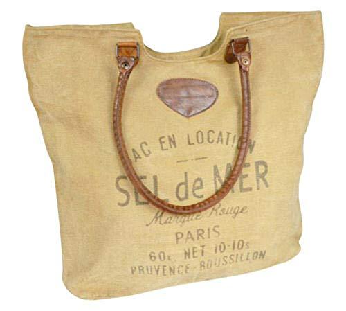 Colmore Canvas Tasche SEL de MER mit Tragegriffen, Leder, Baumwolle
