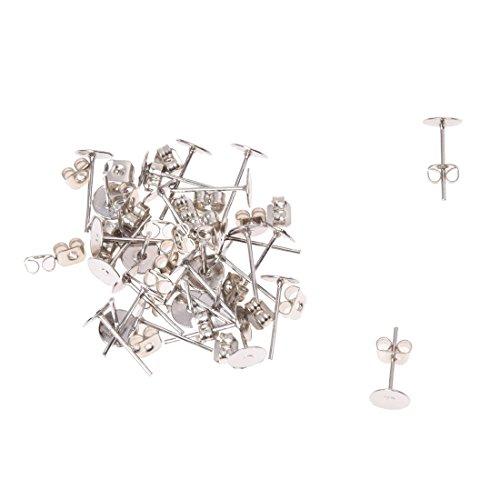 SODIAL (R) 15 pares pendientes de bases X cameo banado en plata