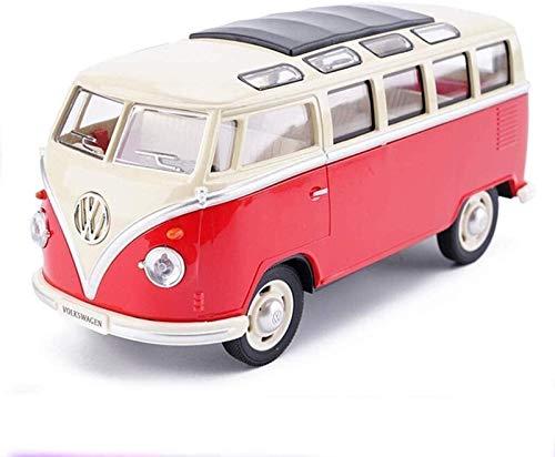 Etrustante Big Bus Van Aleey Simulación Modelo de Coche Sonido de niños y luz Tirante hacia atrás Puerta hacia adelante Puede Abrir el Modelo de Juguete Modelo Rojo Vacaciones