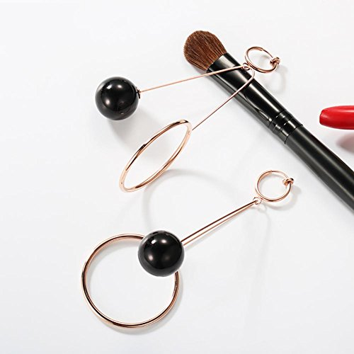 Boucles d'oreilles asymétriques, imitation perle longue bague pendentif oreille Clip - No Ear Hole , black