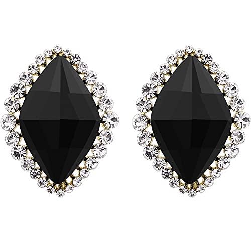 VIENNOIS Pendientes hipoalergénicos para mujer, hechos con brillantes piedras de cristal negro