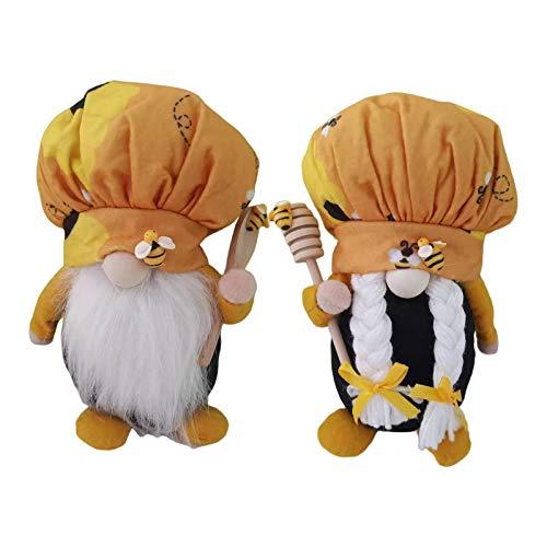 #N/A 2X Schwedische Wichtel Santa Dolls süße Tomte Figur, Honig Biene Elf Haus Küche Dekor Bienen für Home Schaufenster Kinder