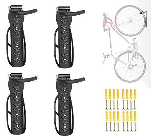 WINWEND Bike Rack, 4PCS Bike Wall Mounts Bike Hooks for Wall Garage - Hold Up to 30Kg