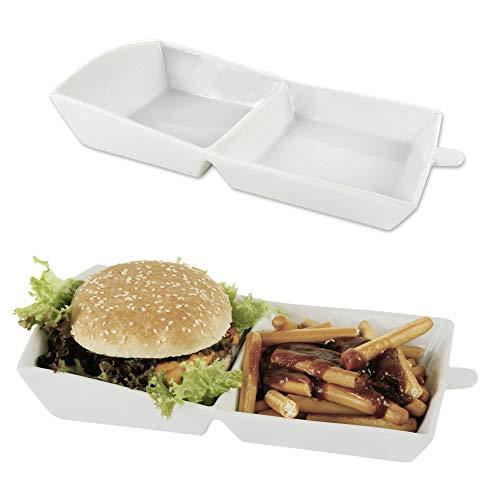 Dynamic24 Hamburger Karton Porzellan Weiss Burger Pommes Geschirr Teller Schale Schüssel