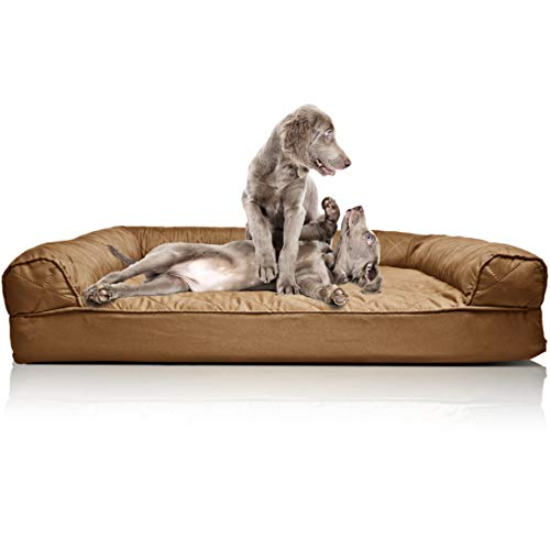 Furhaven Pet Dog Bed | Orthopedic Quilted Traditional Sofa-Style Living Room Couch Pet Bed w/ Removable Cover for Dogs & Cats, Toasted Brown, Jumbo