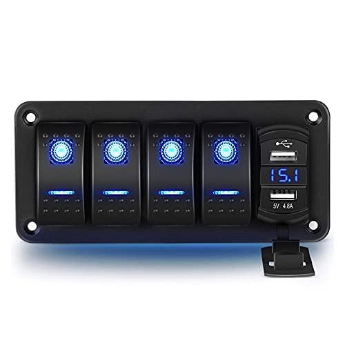 RUIZHI 4 Gang Pannello Interruttore a Bilanciere 12V/ 24V Interruttore a Levetta con Doppia Porta USB 5 Pin Rocker Switch Panel per Auto Marina