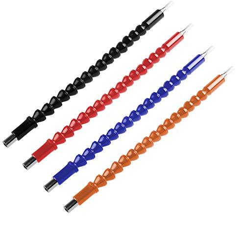 4 Piezas Extensión Broca Flexible, Broca Flexible, Eje Destornillador de Extensión, 11,8 pulgadas Extensión Flexible Universal Acero Inoxidable Extensión Broca para Taladro Eléctrico (4 Colores)