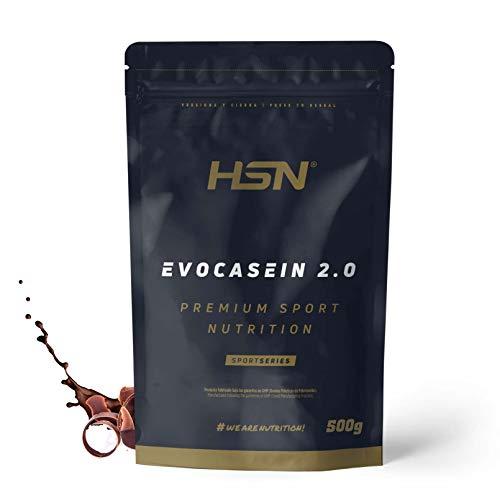 Caseína Micelar de HSN Evocasein 2.0 | Proteína para Antes de Dormir, Liberación Lenta de Aminoácidos durante la Noche | Vegetariana, Sin Gluten, Sabor Chocolate, 500 gr ✅