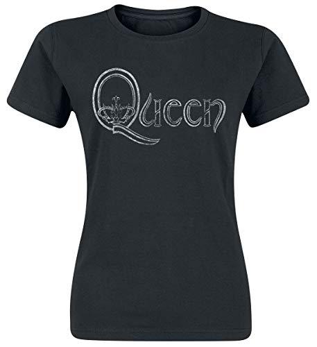 Queen Logo Donna T-Shirt Nero L 100% Cotone Regular