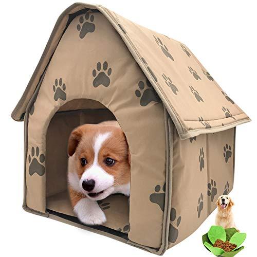 Casa para Mascotas De TamañO PequeñO, Caseta para Perros Plegable con Fondo Antideslizante, FáCil De Quitar Y Limpiar, con Juguetes para Mascotas,18.5 * 19.2 * 19.2IN