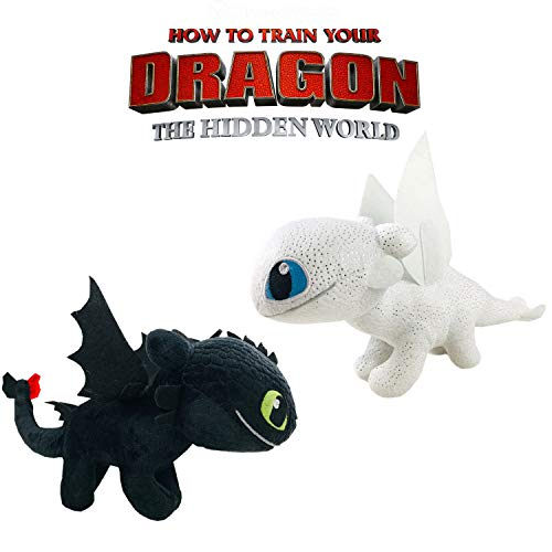 Play by Play HTTYD Pack 2 Dragons, como Entrenar a tu dragón - Peluches Desdentado y Furia Luminosa (Toothless y Light Fury) Color Negro y Blanco Calidad Super Soft 20cm (30cm Cola incluida)