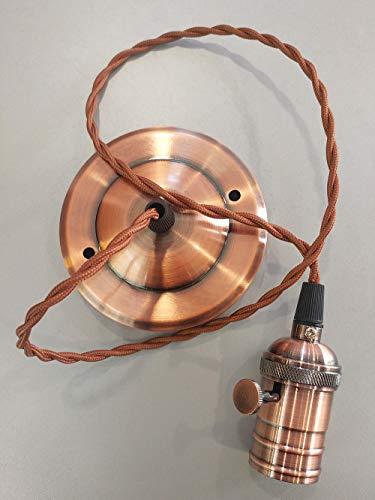 Tecno & Led - Portalampada Pendente Vintage Stile Edison E27 Corda Intrecciata Retro' Colorazioni multiple (Rame)