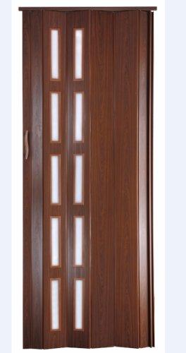Falttür Schiebetür Kunststofftür mahagoni farben mit Schloß/Verriegelung Fenster Höhe 202 cm Einbaubreite bis 94 cm Doppelwandprofil Neu