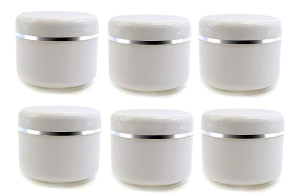 6Pcs Empty Refillable Travel Cosmetic Cream bottles - PP Plastic White Sample Packing Makeup Face Cream Eye Cream Facial Mask Ointment Storage Container Vial Jar Pot(100g/3.3oz)
