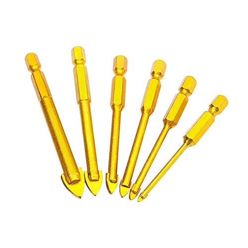 Houdao 6 Stück Glasbohrer Set Diamantbohrer Fliesenbohrer Set 4mm/5mm/6mm/8mm/10mm/12mm Beton Bohrer Set mit 1/4