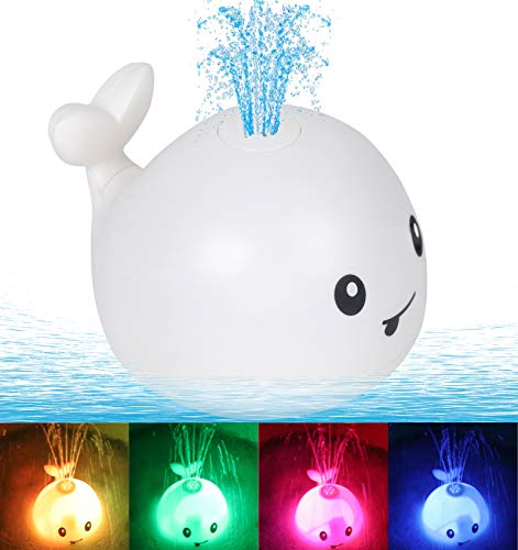 Leipal Baby Light Up Bath Tub Toys Whale Water Sprinkler Pool Toys for Toddlers Infants Kids (White)