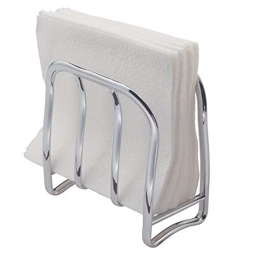 iDesign Portaservilletas, estrecho servilletero vertical de metal, elegante soporte para servilletas de papel para mesa o encimera de cocina, plateado