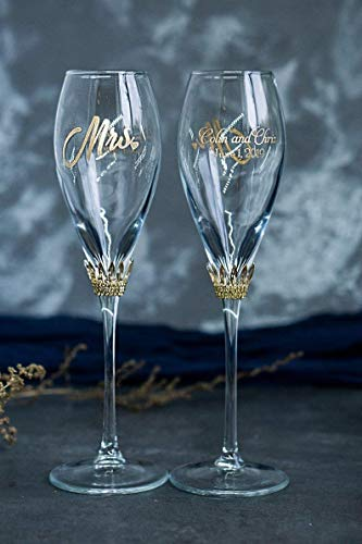 Wedding Champagne Flutes for Bride and Groom - Beauty and the Beast Wedding Decor - Bride and Groom Champagne Glasses - Crystal Wedding Glasses