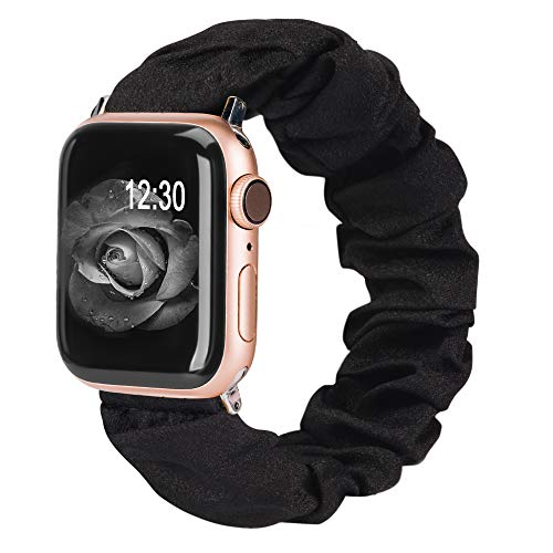 TOYOUTHS Compatible with Apple Watch Band Scrunchies 38mm Cloth Soft Pattern Printed Fabric Bracelet Women Rose Gold IWatch Cute Elastic Scrunchy Bands 40mm Series SE 6 5 4 3 2 1(Black S)