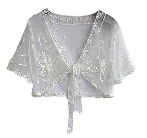 Mujer Boleros para Vestidos De Fiesta Verano Elegantes Moda Manga Corta Niñas Ropa Transparentes Encaje con Pajarita Chal Estola Cardigan Tops (Color : Blanco, Size : 2XL)