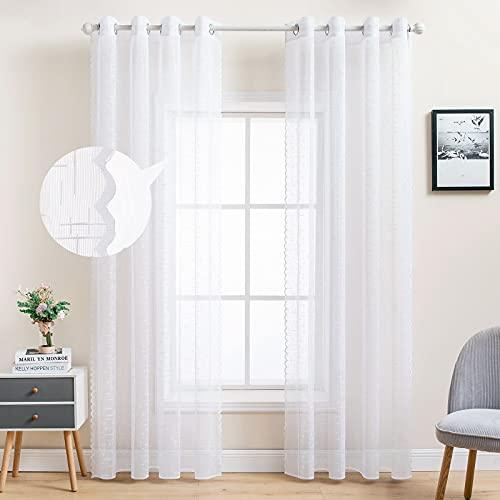 MIULEE 2er Set Voile Vorhang Sheer Leinenvorhang Kettenwirken mit Ösen Transparente Leinen Optik Gardine Ösenschal Fensterschal Lichtdurchlässig Dekoschal Schlafzimmer 225 x 150cm (H x B) Weiß
