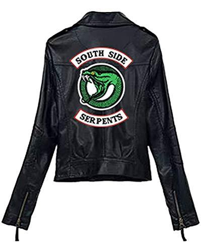 Yesgirl Moda Riverdale PU Chaquetas De Cuero Mujeres Southside Serpents Moto Biker Abrigo Cosplay Casual M Negro Large