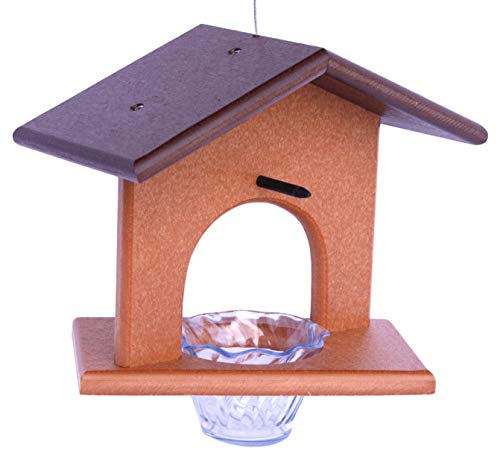 Amish-Made Oriole Bird Feeder, Eco-Friendly Poly-Wood Hanging Decorative Oriole Jelly Feeder (Brown/Cedar)