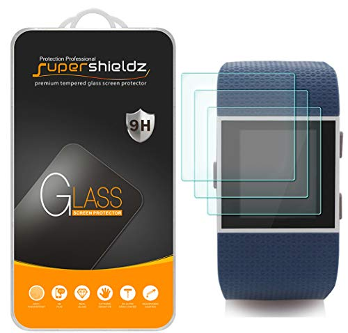 (3 Pack) Supershieldz Designed for Fitbit Surge Fitness Superwatch Tempered Glass Screen Protector, Anti Scratch, Bubble Free