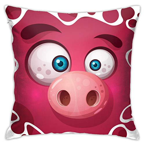 N/Q Cushion Cover Cute Monster Pig Character Throw Pillow Case Home Decorative for Men/Women Living Room Bedroom Sofa Chair 18X18 Inch Pillowcase 45X45cm