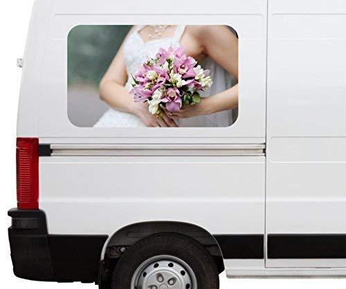 Autoaufkleber Braut Brautkleid Blumen Freesie rosa Blume Car Wohnmobil Auto tuning Digital Druck Fenster Sticker LKW Bild Aufkleber 21B191, Größe 3D sticker:ca. 161cmx 96cm