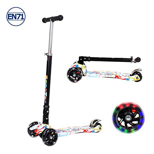 Kids Scooter Kick Scooter 3 Wheels for Boys and Girls Age 3-8 Years Old, LED Light UP Wheels,...