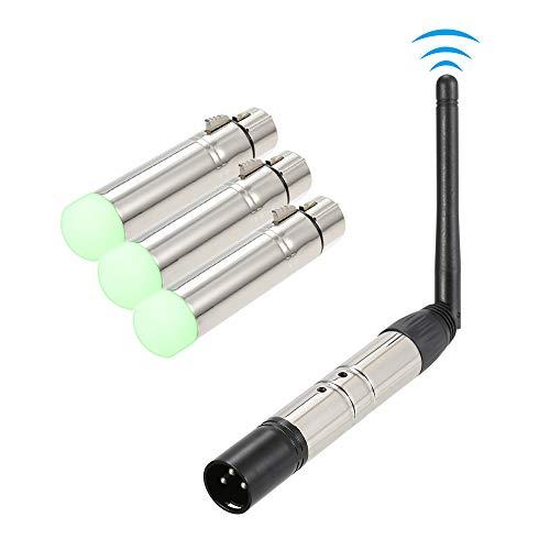 Galapara DMX512 Kabelloser Empfänger und Transmitter-Lichtsteuerung, 4 Stück, 2,4 G, ISM, kabellos, für Party, DJ, Show, Club, Disco, KTV, Stufe, Beleuchtung
