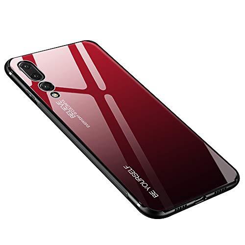 Huawei P20 Pro Hülle, Gehärtetes Glas Zurück mit Weichem TPU Silikon Rahmen Handyhülle Farbverlauf Farbe Case Schutzhülle für Huawei P20 Pro (Huawei P20 Pro, Rot-Schwarz)