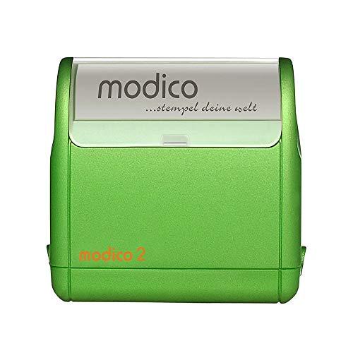 Flashstempel Modico M2 custom (37x11 mm - 3 Zeilen) mit individueller Textplatte Farbe Grün