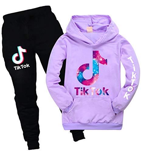 JIAOJIA 2-teiliges Set Sportswear Jogginganzug für Damen und Herren Tik Tok Hoodie Unisex Kinderbekleidung Jungen und Mädchen 170cm