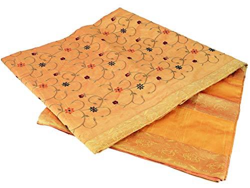 GURU SHOP Brokat- Samtdecke, Tagesdecke, Bettüberwurf - Orange/gelb, Synthetisch, 270x230 cm, Patchwork Steppdecke aus Indien
