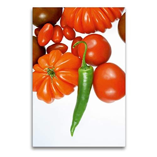 Premium Textil-Leinwand 60 x 90 cm Hoch-Format Tomatensorten mit grüner Chili | Wandbild, HD-Bild auf Keilrahmen, Fertigbild auf hochwertigem Vlies, Leinwanddruck von Gerhard Kraus