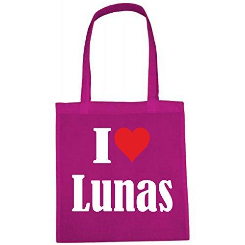 Tasche I Love Lunas Größe 38x42 Farbe Pink Druck Weiss
