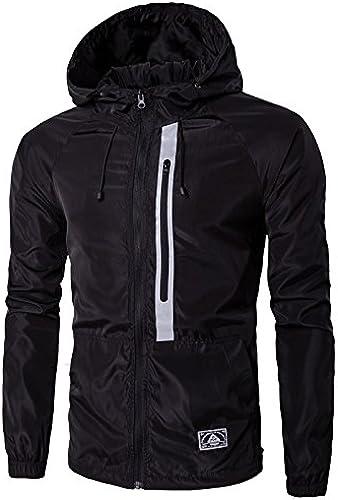 Vjibmt Un Manteau Court Hommes la Mode pour Hommes à la personnalité de la Mode décontracté Manteau Manches Longues,noir,l
