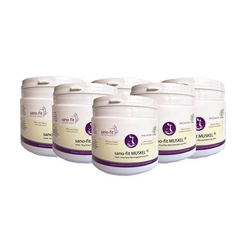 sano-fit Muskel mit 100 {263067e79ad3a7347b2958d17008cd5776456e092a675a21fab06de3aea0d202} Proteinen (Bioaktive Kollagenpeptide) für Muskelaufbau von Dr. Jokar. 6 x 150 g Eiweiß-Collagen-Pulver für Muskelaufbau. Kostenlose Lieferung