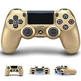 BGAME Controlador inalámbrico para PS4, 2.4GHz Bluetooth Game Controller Joystick Inalámbrico Compatible con Windows PC, PS3, Smart-TV, Samsung VR, Smartphone/Tableta Android,Gold