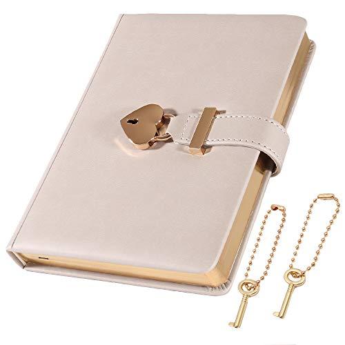 cofumi 日記帳 鍵付き 手帳 B6 横罫8mm 予備鍵 PUレザーカバー おしゃれ ギフト 女の子 (シルバーグレイ)