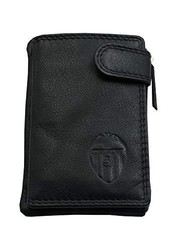 Tarjetero Monedero Piel Valencia C.F. Oficial Color Negro con Doble Pespunte al Tono y Escudo Grabado